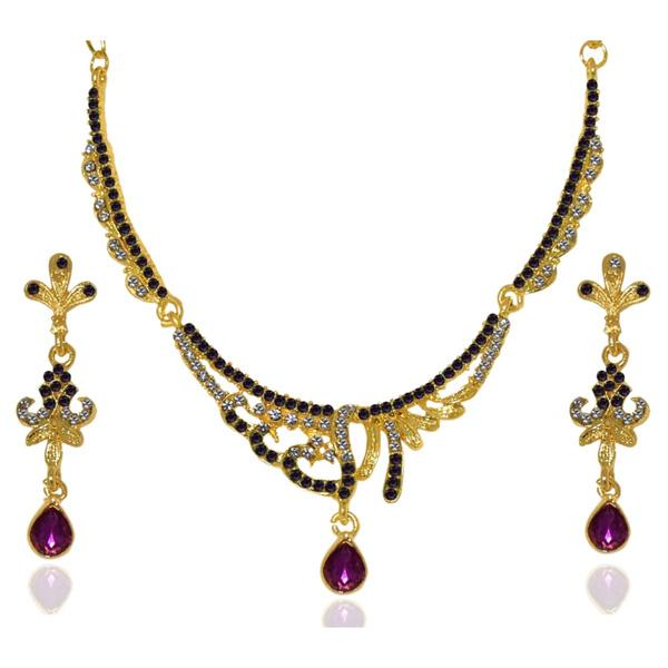 Tiptop Fashions  Purple Austrian Stone Gold Plated Necklace Set  -  Imitation Jewellery - 1103936 - 11039