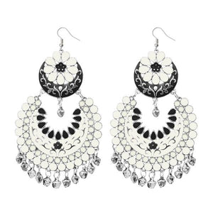 Tiptop Fashions  White Meenakari Silver Plated Afghani Earrings - Tiptop Fashions