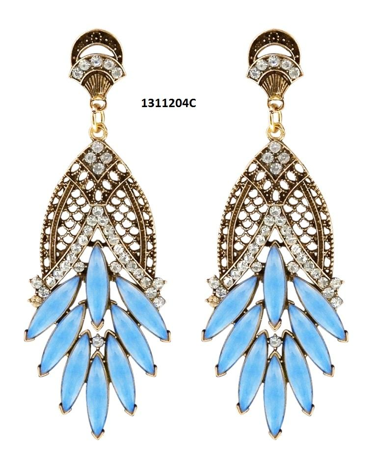 Tiptop Fashions  Blue Crystal And Stone Dangler Earrings  -  Imitation Jewellery - 1311204c - 13112