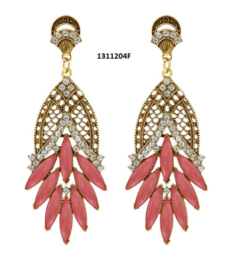 Tiptop Fashions  Maroon Crystal And Stone Dangler Earrings  -  Imitation Jewellery - 1311204f - 13112