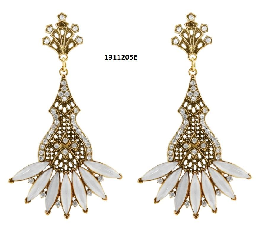 Tiptop Fashions  Crystal Stone Antique Gold Plated Dangler Earrings  -  Imitation Jewellery - 1311205e - 13112