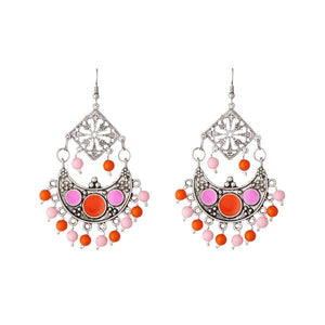 Tiptop Fashions  Beads Rhodium Meenakari Afghani Earrings - Tiptop Fashions