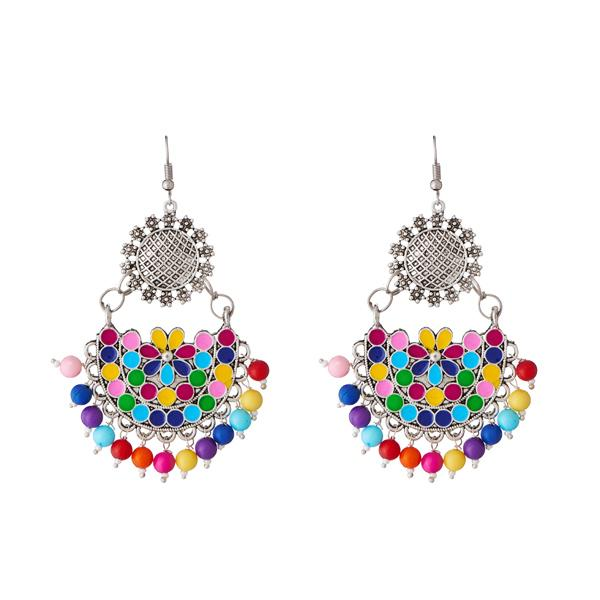 Tiptop Fashions  Beads Rhodium Plated Afghani Earrings - Tiptop Fashions