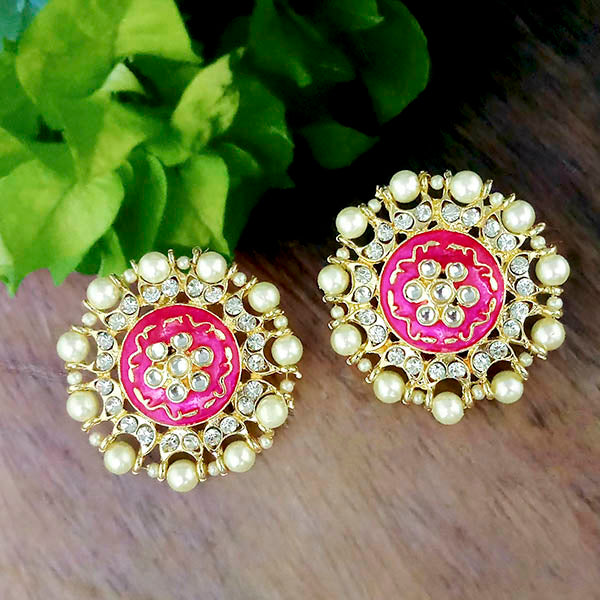 Tip Top Fashions Pink Meenakari And Stone Gold Plated Stud Earrings - 1316349F