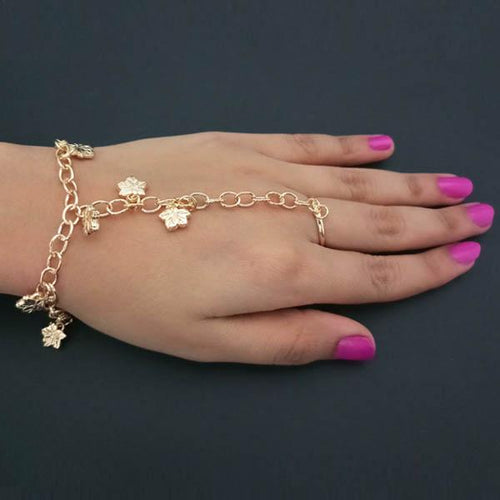 Tiptop Fashions Gold Plated Floral Design Chain Hand Harness - 1502371