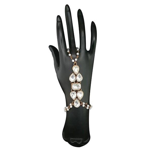 Tip Top Fashions Austrian Stone Pearl Gold Plated Hand Harness - 1503136
