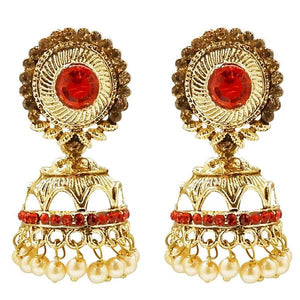 Tiptop Fashions  Stone And Pearl Gold Plated Jhumki Earring  -  Imitation Jewellery - 1311310c - 13113