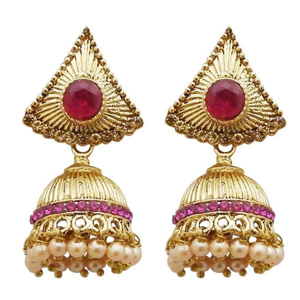 Tiptop Fashions  Gold Plated Pink Austrian Stone Jhumki Earrings  -  Imitation Jewellery - 1311306d - 13113
