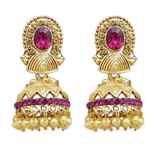 Tiptop Fashions  Gold Plated Purple Austrian Stone Jhumki Earrings  -  Imitation Jewellery - 1311311d - 13113