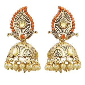Tiptop Fashions  Gold Plated Orange Austrian Stone Jhumki Earrings  1311313i