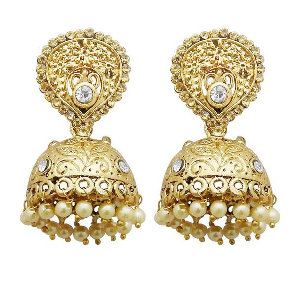 Tiptop Fashions  Gold Plated White Austrian Stone Jhumki Earrings  -  Imitation Jewellery - 1311314a - 13113