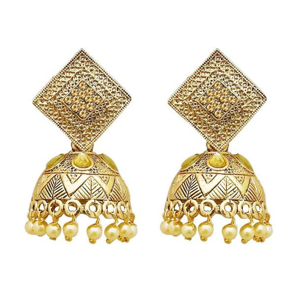Tiptop Fashions  Gold Plated Brown Austrian Stone Jhumki Earrings  -  Imitation Jewellery - 1311317b - 13113