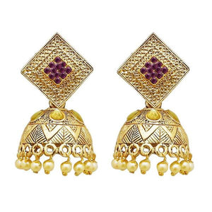 Tiptop Fashions  Gold Plated Purple Austrian Stone Jhumki Earrings  -  Imitation Jewellery - 1311317d - 13113