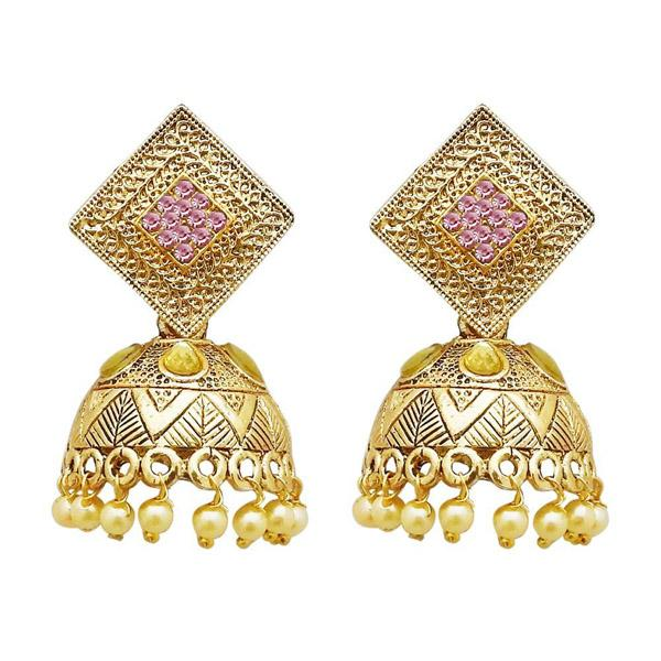 Tiptop Fashions  Gold Plated Pink Austrian Stone Jhumki Earrings  -  Imitation Jewellery - 1311317f - 13113
