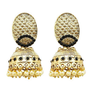 Tiptop Fashions  Gold Plated Black Austrian Stone Jhumki Earrings  -  Imitation Jewellery - 1311318e - 13113