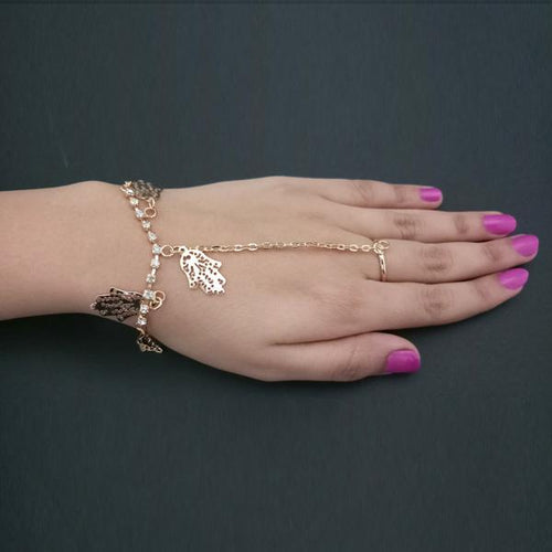 Tiptop Fashions  Gold Plated Austrian Stone Chain Hand Harness  -  Imitation Jewellery - 1502348 - 15023