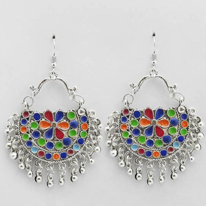 Tiptop Fashions  Multi Meenakari Afghani Dangler Earrings  -  Imitation Jewellery - 1311075 - 13110