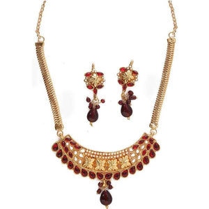 Tiptop Fashions  Maroon Kundan Pearl Necklace Set  -  Imitation Jewellery - 1101015 - 11010