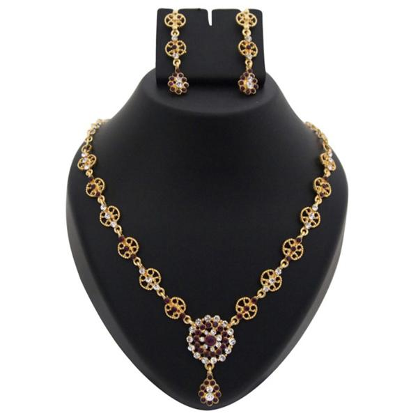 Tiptop Fashions  Austrian Stone Floral Design Gold Plated Necklace Set - Tiptop Fashions