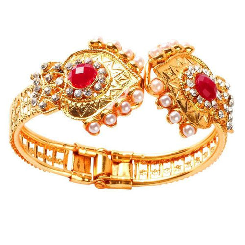 Tiptop Fashions  Red Austrian Stone Pearl Gold Plated Kada - Tiptop Fashions