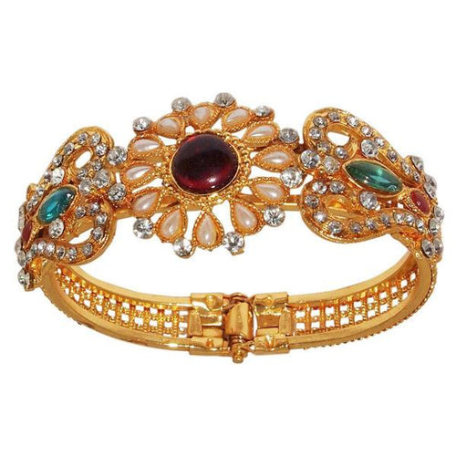 Tiptop Fashions  Austrian Stone Pearl Multicolor Gold Plated Kada - Tiptop Fashions