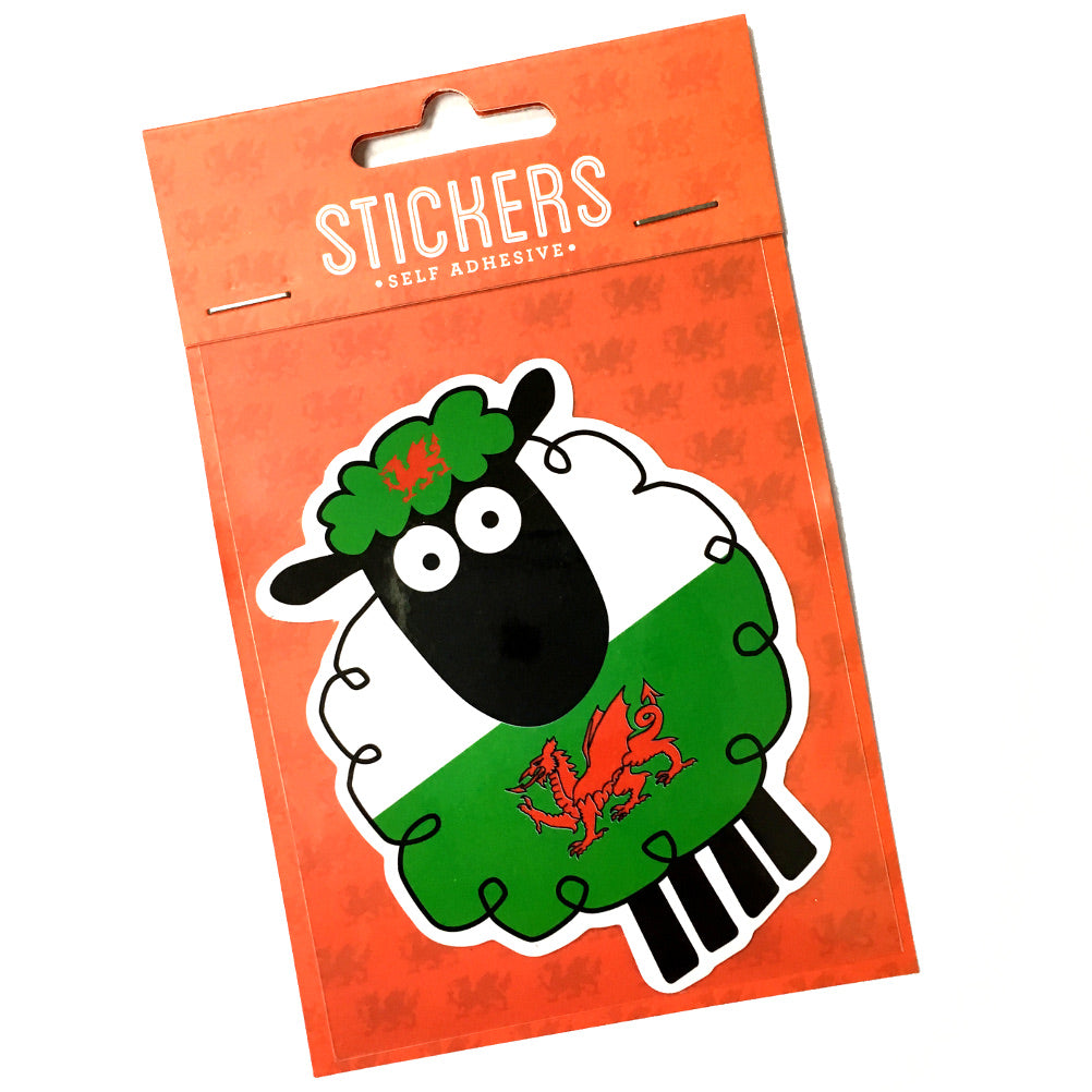 Welsh Flag Sheep Shaped Sticker