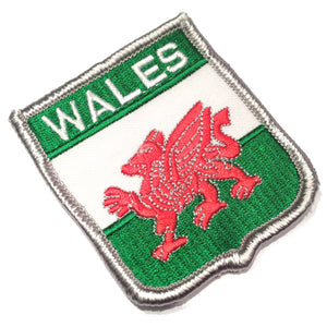 Welsh Flag Silver Edge Shield Embroidered Patch [trd]