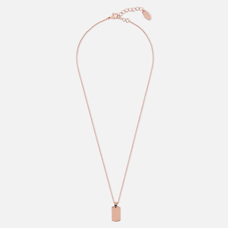 Metal Tag Long Necklace - Rose Gold