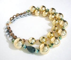 Big Bold Gold Beaded Necklace