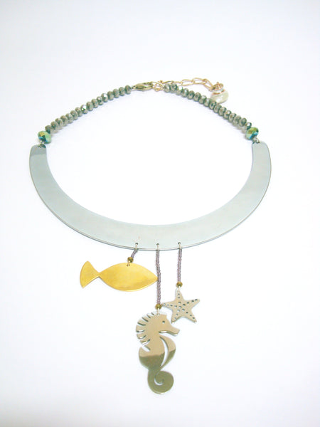 Sea World Wonderland Seahorse and Fish Silver Necklace