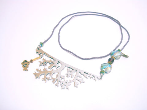 Coral Underwater Wonderland Sea World Long Silver Necklace