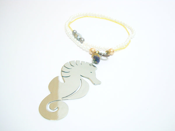 Seahorse Loving Silver Long Necklace