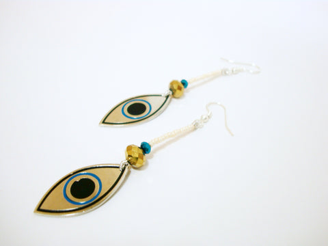 Evil Eye Off White Drop Earrings