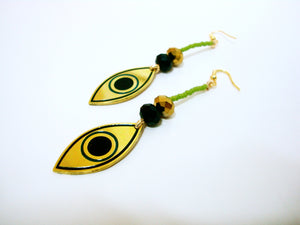 Evil Eye Green Drop Earrings