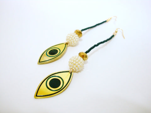 Evil Eye Black Bead Drop Earrings