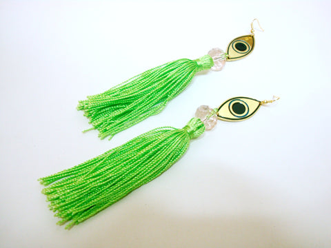 Evil Eye Green Tassel Earrings