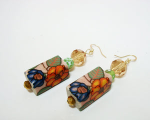 Floral Square Drop Earrings