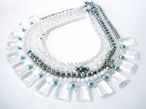 Signature Beaded Clear Transparent Statement Necklace