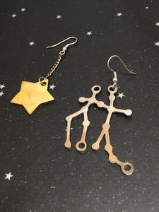 Gold Star 'GEMINI' Earrings - Riddhika Jesrani