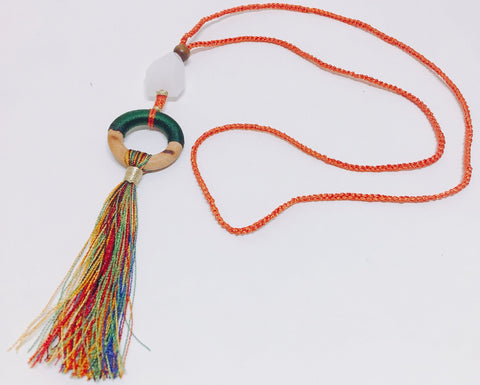 Summer Fun Orange Tassel Necklace - Riddhika Jesrani