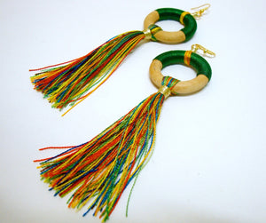 Fun Green Tassel Earrings - Riddhika Jesrani