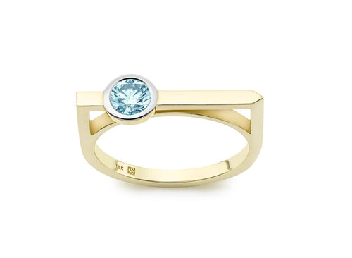 Image: Front view of Solitaire linear 3/8 carat ring with blue diamond