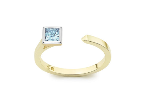 Image: Front view of Princess open top 3/8 carat ring with blue diamond