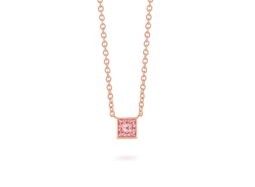 Image: Front view of Princess Bezel 1/2 carat pendant with pink diamond