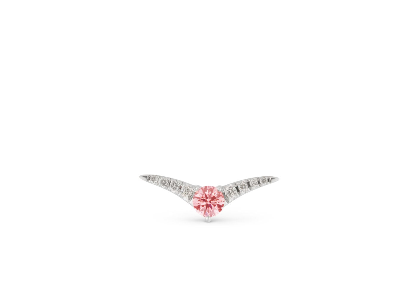 Front view of Pavé Chevron 1/4 carat earring with pink and white diamonds