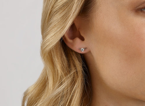 Image: Front view of Chevron 1/4 carat earring with white diamond
