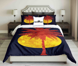 Red Palm And Full Moon On a Black Night Background Bedding Set | beddingkings