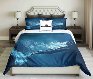 Professional Swimmer Under Water In Abyss Design Bedding Set | beddingkings