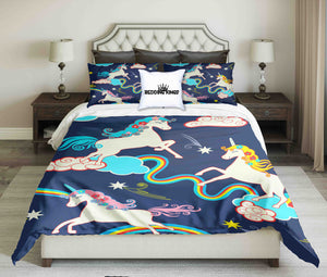 Unicorns On Blue Sky Design Bedding Set | beddingkings