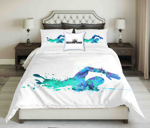 Green-Blue Abstract Swimmer On White Background Design Bedding Set | beddingkings